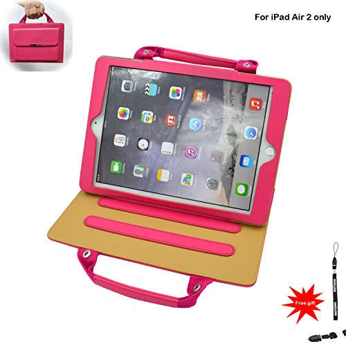 MOTONG iPad Air 2 Case cover with stand,PU Leather with Carrying Handbag and pocket,it's convenient for your working and travelling (Air 2 pink)