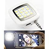 SnapLight Mini Universal Phone Camera Selfie LED Flash For iPhone and Android Smartphones (White)