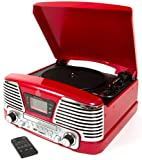 GPO Memphis Turntable 4-in-1 Music Centre with CD and FM Radio - Red