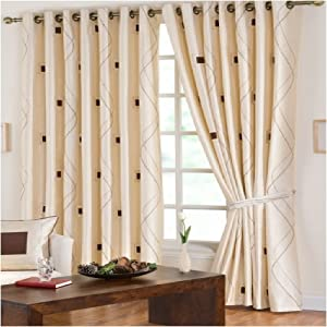 Extra Wide Eyelet Curtains Chocolate Brown Cream 90x90
