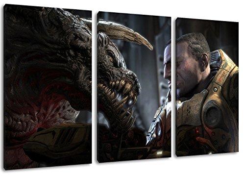 Dark Gears of War 3 parti su tela, formato generale: 120x80 cm rifiniti con cornice immagini Stampa artistica come murale - Più economico di pittura ad olio o la pittura - non un poster o banner,