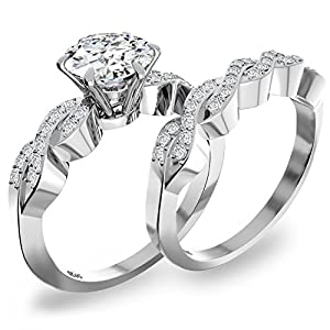 Uhibros Women's 2in1 Cubic Zirconia Engagement Rings Sterling Silver Wedding Band Bridal Set(size 9)