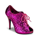 4 3/4 Inch Hee Sexy Glitter Oxford Pump Shoe Lace Up Bootie Gold Pink Purple