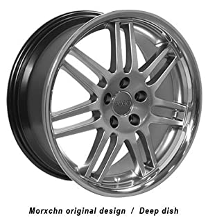 18″ Fits Audi – RS4 Style Deep Dish Replica Wheel – Hyper Silver with Stainless Steel Lip 18×8