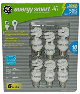 6-Pack GE Compact Flourescent (CFL) Light Bulbs 10 Watt = 40 Watt Equivalent