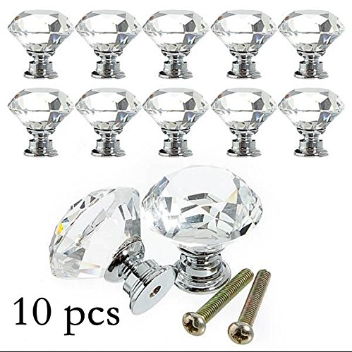 Yazer 10PCS Diamond Shape Crystal Glass 30mm Drawer Knob Pull Handle Used for Drawer Wardrobe Cabinet Cupboard (Crystal Drawer Pulls And Knobs compare prices)