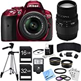 Nikon D5300 DX-Format Digital SLR Kit w 18-55mm + 70-300mm Lens Red Bundle includes Camera - Lenses - 52mm Filters - 16GB + 32GB SDHC Memory Cards - Tripod - Cleaning Kit - Beach Camera Cloth and More