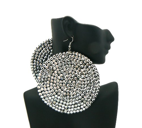 Silver 3.5 Inch Circle Poparazzi Earrings Iced Out Light Weight Basketball Wives