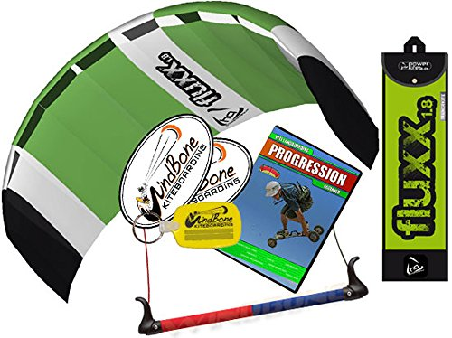 HQ Fluxx 1.8 Trainer Kite TR plus Kite Mountainboarding DVD Bundle (4 items) Includes Progression Beginner Landboarding Instructional DVD + WindBone Kite Lifestyle Decals + WBK Key Chain 1.8M