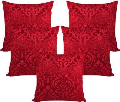 ShwetaInternational Set Of 5 Red Velvet Cushion Covers (30*30 cms)