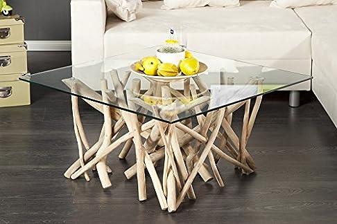 Tavolino DuNord Algarve, 80 cm x 80 cm, legno galleggiante