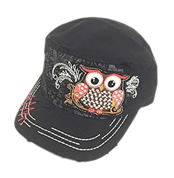 owl rhinestone bling cadet hat or cap black at