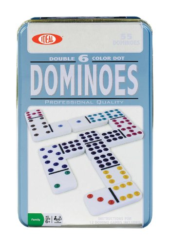 Poof-Slinky - Ideal Double 6-Color Dot Professional Quality Dominoes With Storage Tin, 28-Piece Domino Set, 0X5406