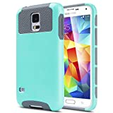 Galaxy S5 Case, ULAK Samsung Galaxy S5 Case, Fashion Armor Shockproof Case Cover for Samsung Galaxy S5 / Galaxy SV / Galaxy S V (2014) with Screen Protector and Stylus (Light Blue/Gray)