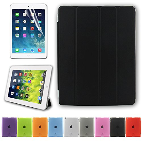 BESDATA Ultra Thin Magnetic Smart Cover (Wake/Sleep Function) & Translucent Back Case for Apple iPad 2 / iPad 3 / iPad 4 + Screen Protector + Cleaning Cloth + Stylus (Black)