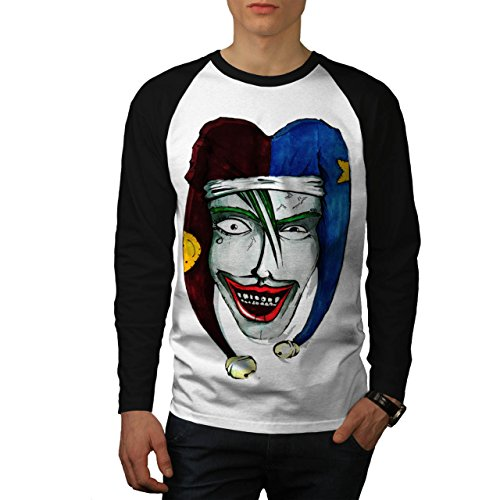 Smiling Scary Clown Joker Laugh Men NEW White (Black Sleeves) L Baseball LS T-shirt | Wellcoda (Scary Smiling Clown)