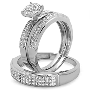 0.60 Carat (ctw) Sterling Silver Round White Diamond Men & Womens Micro Pave Engagement Ring Trio Bridal Set from DazzlingRock