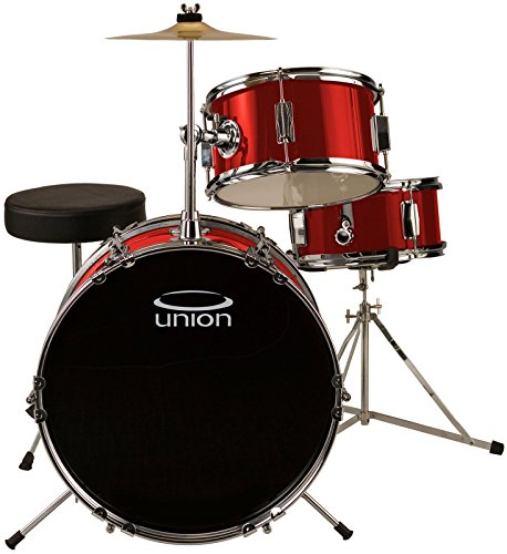 union-dbj3071mr-3-piece-junior-drum-set-with-hardware-cymbal-and-throne-metallic-red