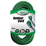 Coleman Cable 02353-05 80-Feet 16/3 Vinyl Landscape Outdoor Extension Cord, Green ~ Coleman Cable