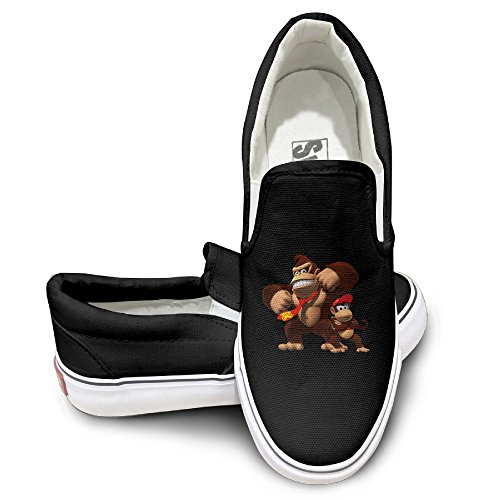 [MGTER66 Donkey Kong And Diddy Kong Hot Dance Slip On Sneaker Unisex Style Color Black Size 38] (Donkey Kong Costume For Women)
