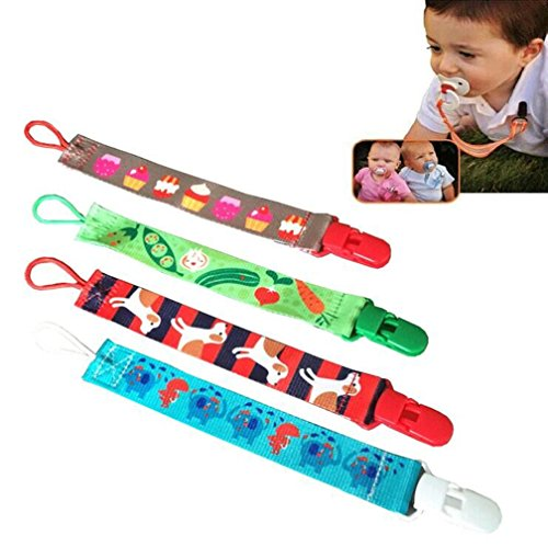 Lovely Baby Pacifier Clip 4 pack Universal Unisex Design Pacifier holder Fits All Pacifier for girls and boys (Color 1)