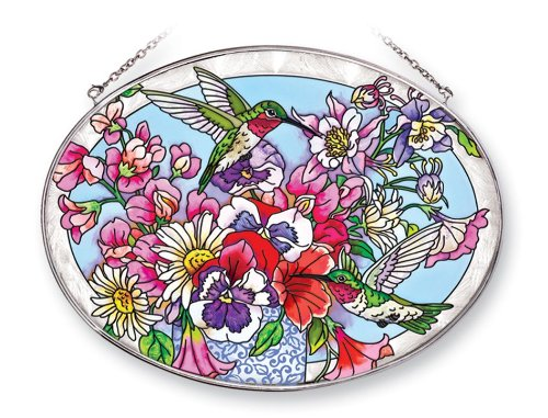 amia-41251-hummingbirds-delight-9-by-6-1-2-inch-oval-sun-catcher-large