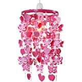 Girls Pink Hearts And Butterflies Ceiling Pendant Shade