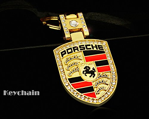 Rhinestones Bling Premium High quality Metal Alloy Car Key Chain Crystals Double Sided Keychain with Gift Box (Porsche)