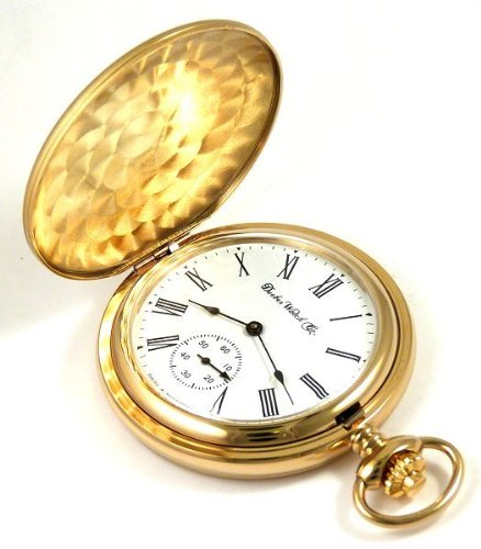 Женские карманные часы Dueber Swiss Mechanical Pocket Watch, High Polish Gold Hunting Case, Assembled in USA!