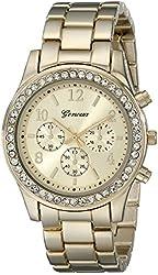 Geneva Women's 2362-gold-GEN  Cubic Zirconia Accented Link Metal Watch