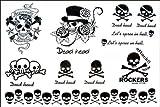 Mode für Männer und Frauen Wasserdichte Tattoo-Aufkleber ROCK Schädel wickeln