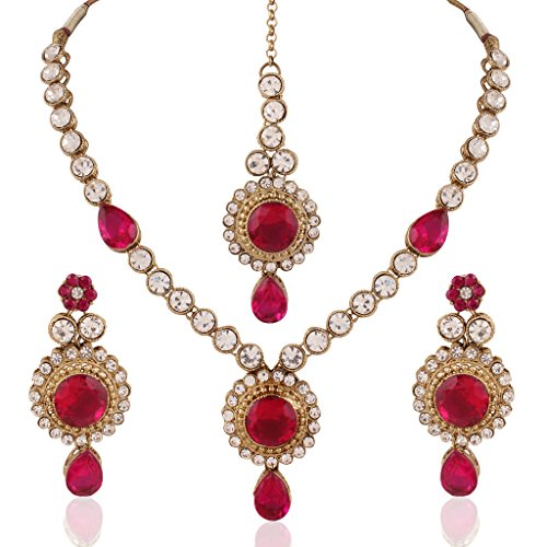 I-Jewels-Traditional-Gold-Plated-Elegantly-Handcrafted-Jewellery-Set-with-Maang-Tikka-using-Austrian-Diamonds-for-Women-IJ272Q-RaniDark-Pink