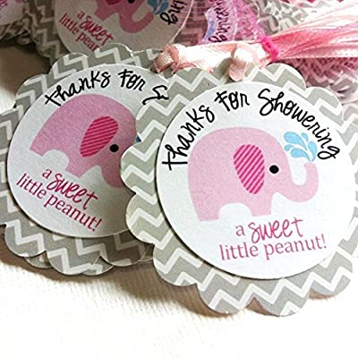 Thanks for Showering Pink Elephant Favor Tags for Baby Shower - Set of 12