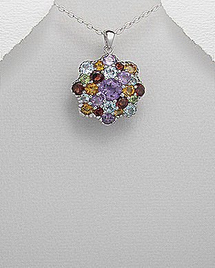 Glee Jewellery Rhodium Plated Sterling Silver Gem- Stone Pendant Decorated with Amethyst,Citrine,Garnet,peridot & Sky-Blue Topaz