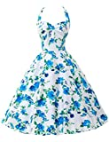 Threeseasons Women Cocktail Prom Party Dresses Vintage Halter Flower Print Blue Dress Size S~XL (L)