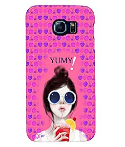 Fuson Pink Blue Fruit Pattern Girl Back Case Cover for SAMSUNG GALAXY S6 - D3908