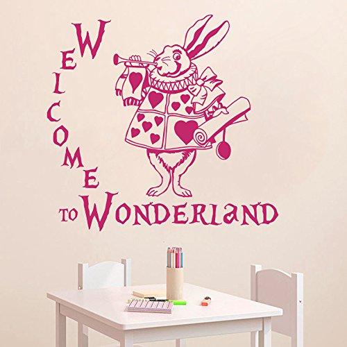 vinyl wandtattoo zitat aus alice im wunderland buch welcome to wonderland willkommen im. Black Bedroom Furniture Sets. Home Design Ideas