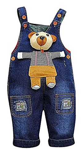 Sweety, Boy's / Girl Denim Overall Pockets Parches Puppy Teddy Bear Giraffe, 4 19-24 months (Bear Jeans compare prices)