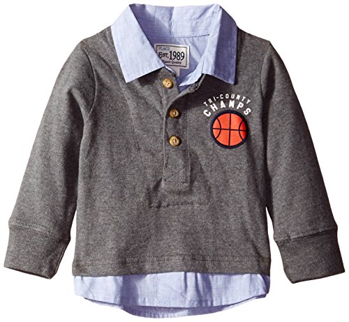 The Children's Place Baby-Boys LB Twofer Henley, Heather Charcoal, 12-18 Months