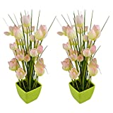 Thefancymart Artificial Tulip Flower Plant With PVC Pot_set Of 2 Style Code-69