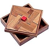 Das rote Quadrat - Holzpuzzle - Denkspiel - Knobelspiel - Geduldspiel