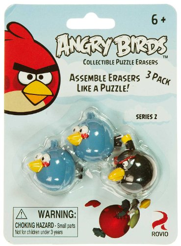 Blue Birds & Black Bird: Angry Birds Collectible Puzzle Erasers Series 2 - 1