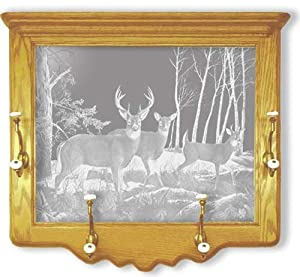Oak Wall Coat Rack With Deer Hunting Etched Mirror - Deer Hunting Decor - Unique Deer Hunting Gift Ideas - Fully Assembled - 26'' w x 22'' h