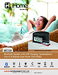 iHome Bluetooth Speakerphone with USB Charging Line-in Plus Alarm Clock Radio - iBT230