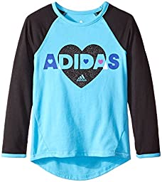 Adidas Little Girls\' Long Sleeve Graphic Tee Shirt, Blue, 5