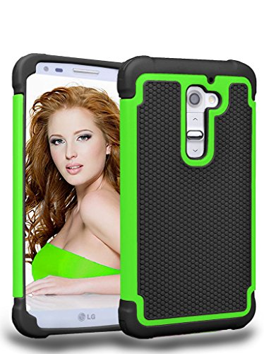 LG G2 Case,MANDYCOWRY Solid Shockproof  Durable Luxury Stylish Design Dual Layer Protection Defender Cover for LG G2(Black/Green) (Lg G2 Case Waterproof compare prices)