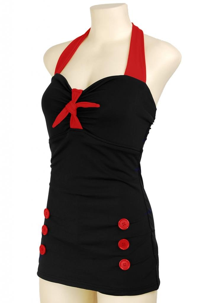 PinupClothingOnline Women's Bow Front Vintage Pin up Rockabilly Swimsuit 1