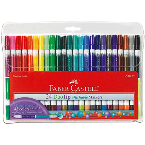 Faber-Castell - DuoTip Washable Markers - 24 count - Premium Art Supplies For Kids