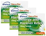 3 x Galpharm One-a-Day Allergy and Hayfever Relief 10mg Loratadine - 7 Tablets per pack - Multipack of 3 packets, total of 21 tablets