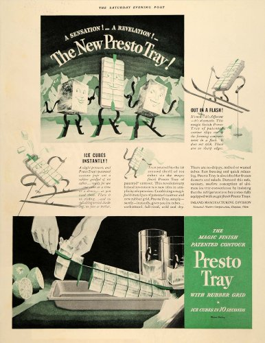 1937 Ad Presto Tray Ice Cube Rubber General Motors - Original Print Ad (Presto Motor compare prices)